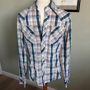 True Religion men's plaid snap button shirt M